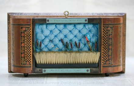 """As kingfishers catch fire"", musical storybox sculpture"