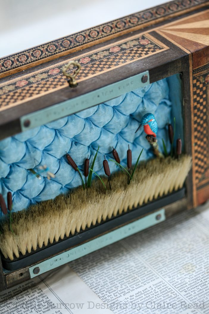 """""""As kingfishers catch fire"""", musical storybox sculpture"""