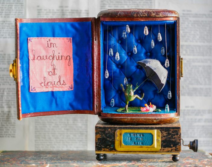 """Singing in the Rain"", musical storybox sculpture"