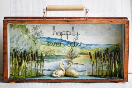 """Happily Ever After"", Swan Storybox Sculpture £295"