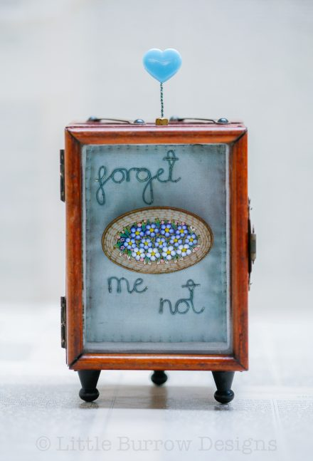 """Forget-me-Not"", Glazed Front Storybox Sculpture"